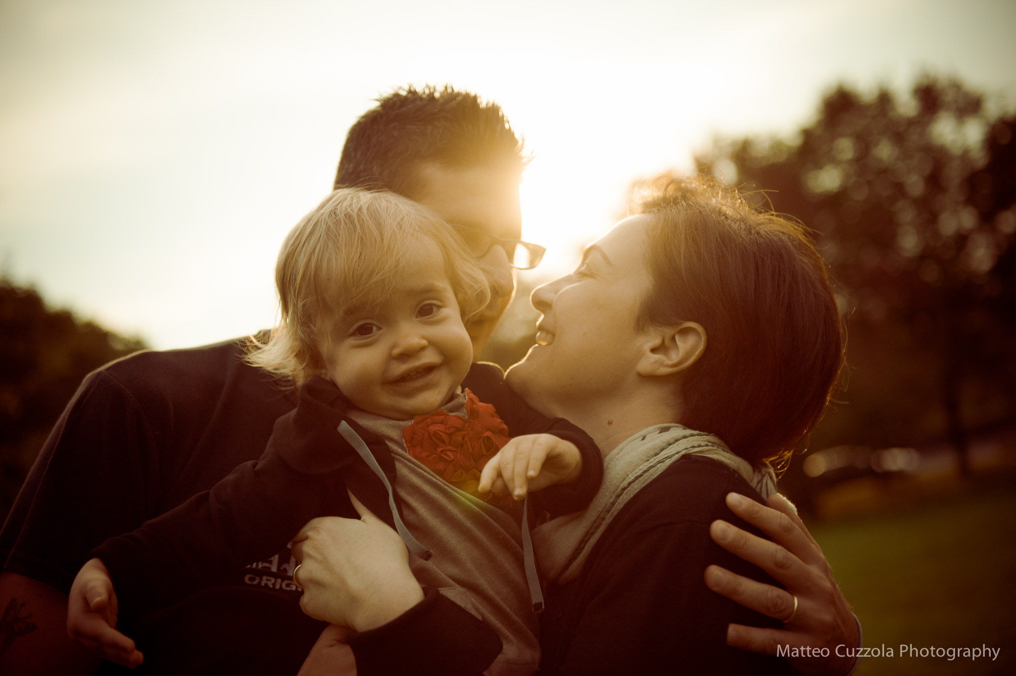 portrait of a beautiful family in Italy Milan