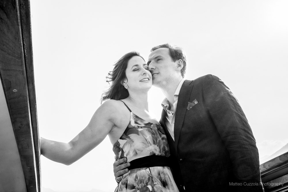 On the boat engagement photographer lake como