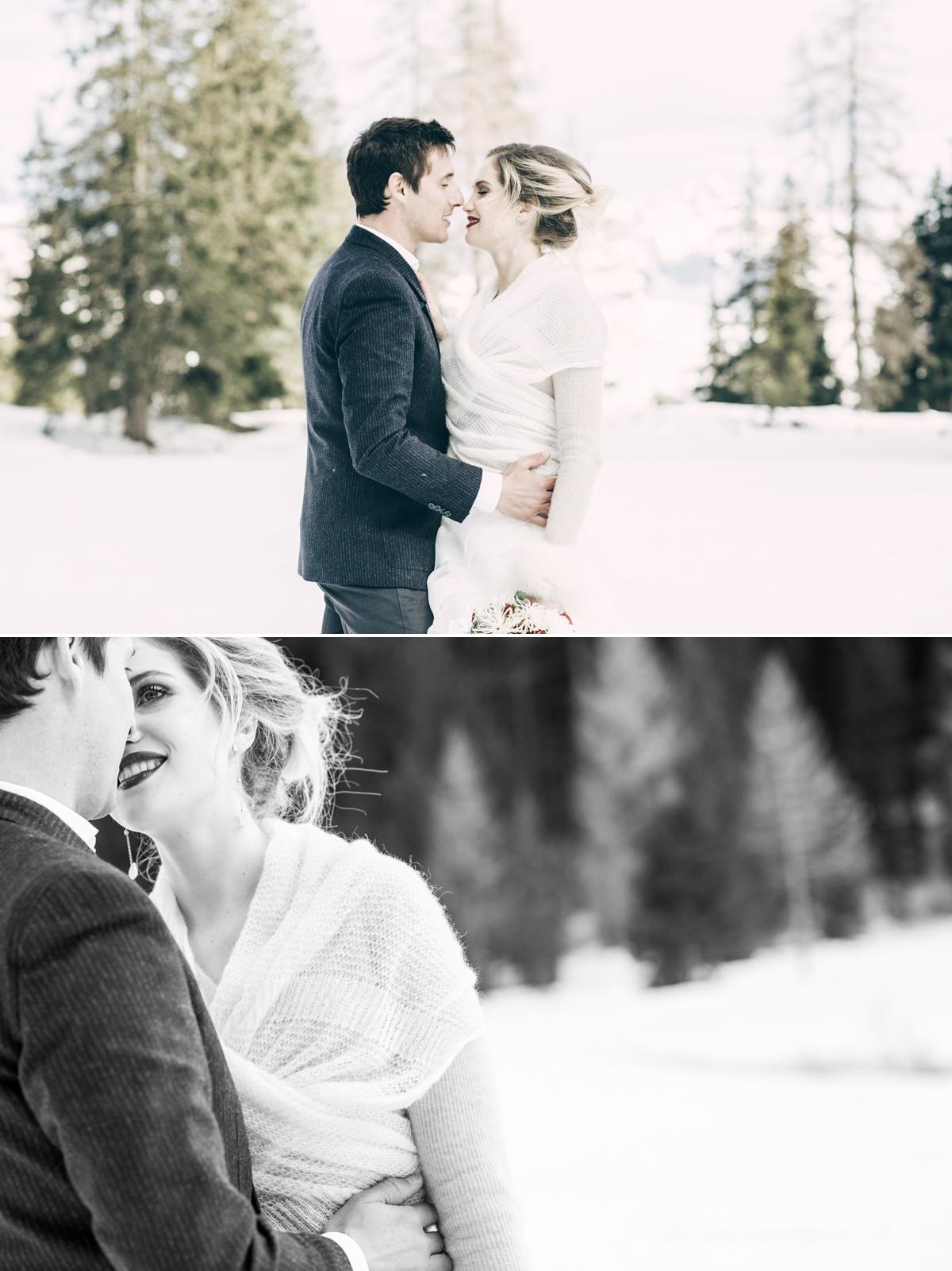 matrimonio in montagna sulla neve